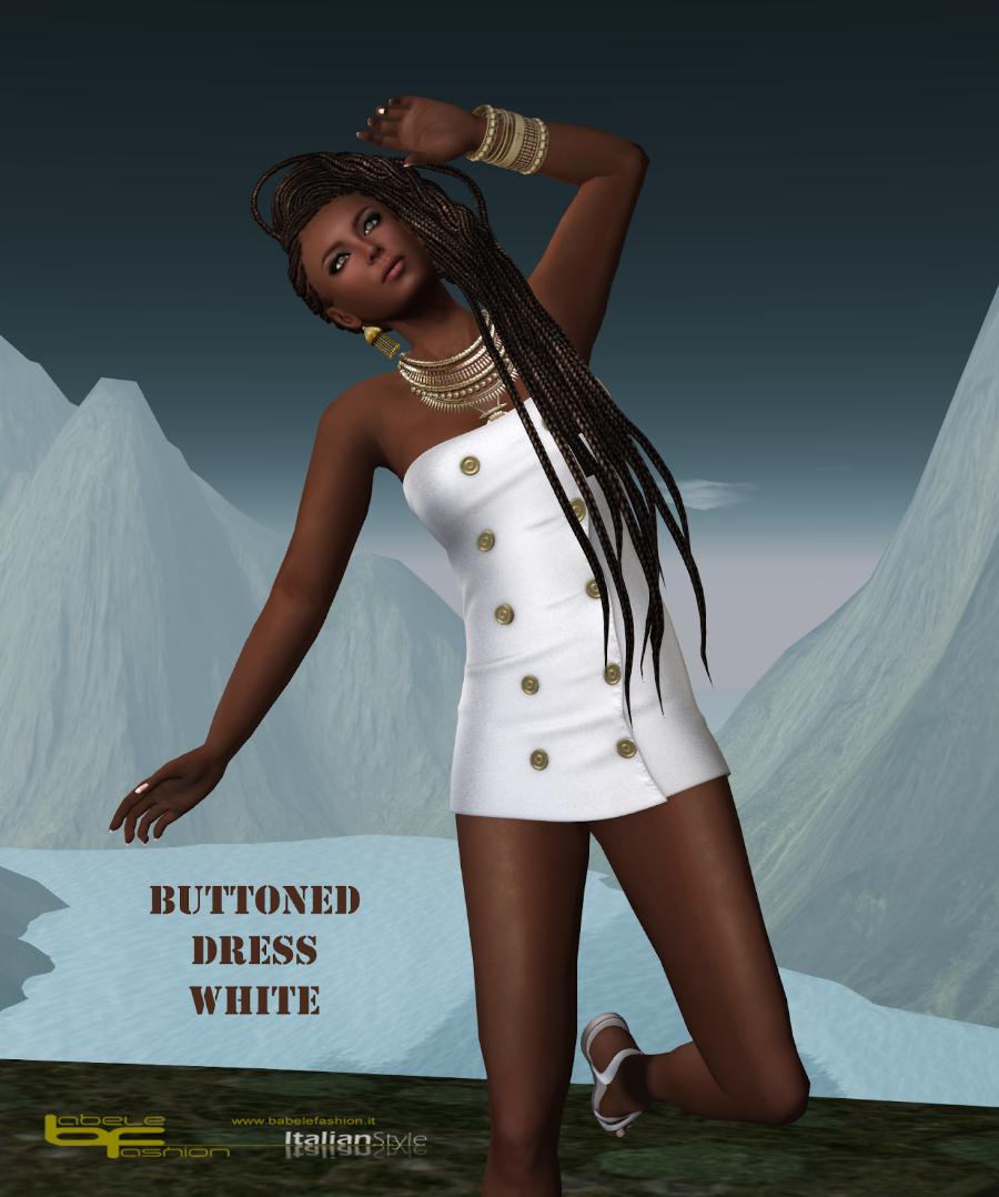 buttoned dress white promo