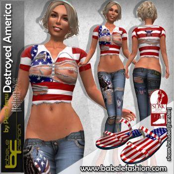 Maglietta distrutta America